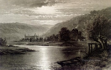 Cooper Art - Tintern Abbey Moonlight On The Wye scenery Thomas Sidney Cooper